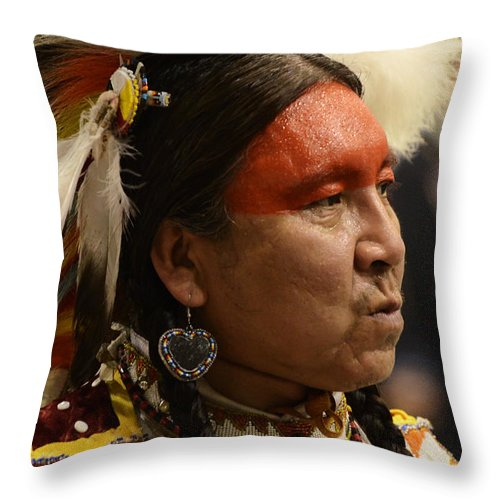 Pow Wow Throw Pillow featuring the photograph Pow Wow First Nations Man Portrait 1 by Bob Christopher
