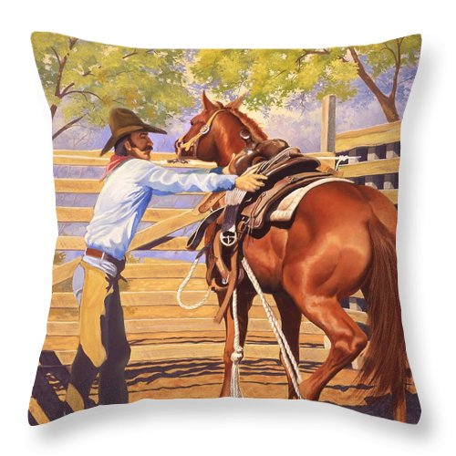 Cowboy Throw Pillow featuring the painting First Saddling by Howard Dubois