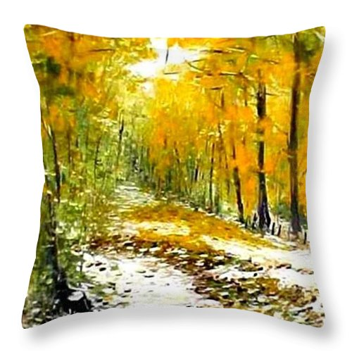 Landscape Throw Pillow featuring the painting First Snow by Boris Garibyan