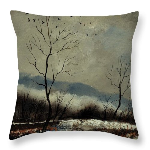 Landscape Throw Pillow featuring the painting First snow in Harroy by Pol Ledent