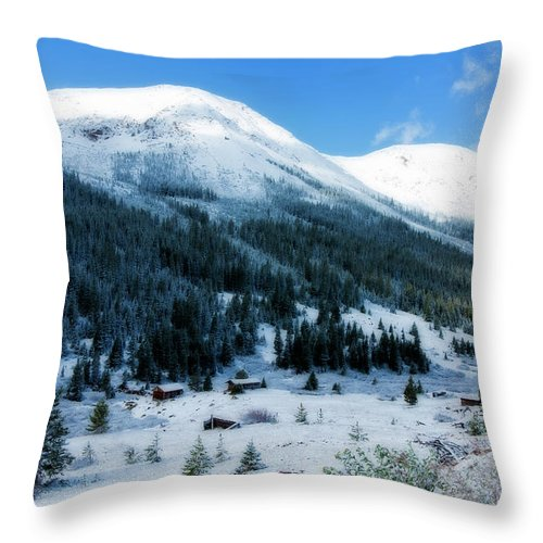 Abandoned Throw Pillow featuring the photograph First Snow by Joan Carroll