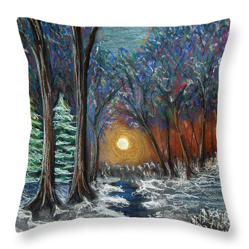 Snow Throw Pillow featuring the pastel First Snow by Nancy Mueller