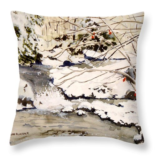 Winter Scene Throw Pillow featuring the painting First Snowfall by Jean Blackmer