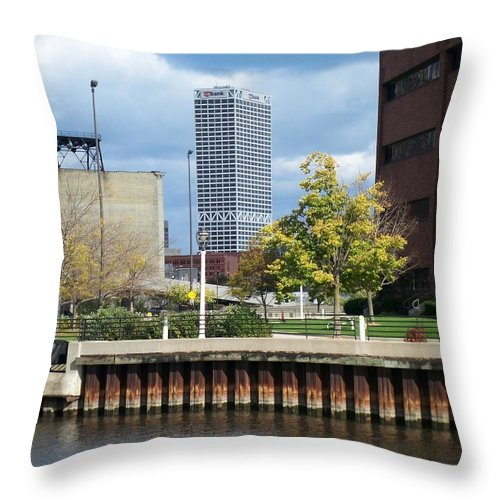 First Star Bank Throw Pillow featuring the photograph First Star Tall View From River by Anita Burgermeister