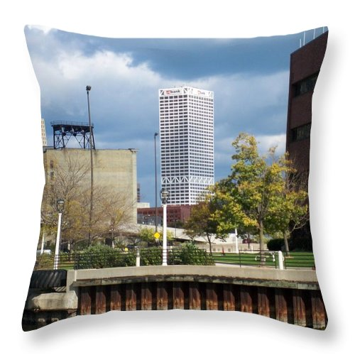 First Star Bank Throw Pillow featuring the photograph First Star View From River by Anita Burgermeister