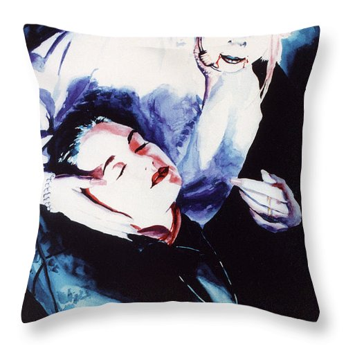 Vampires Throw Pillow featuring the painting First Taste by Ken Meyer