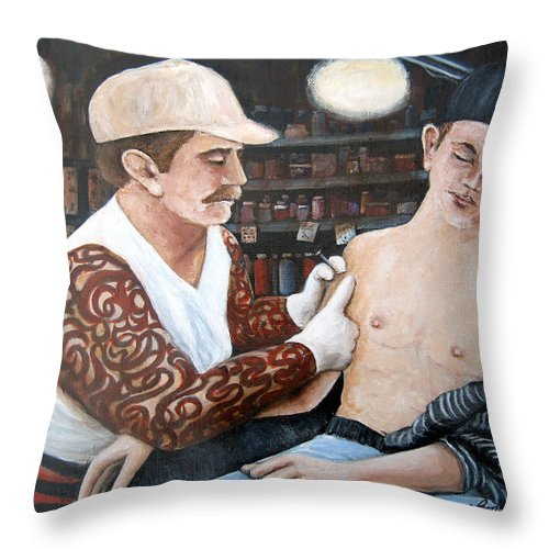 People Throw Pillow featuring the painting First Tattoo by Leonardo Ruggieri