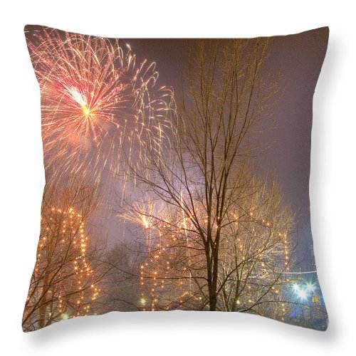 Boston Throw Pillow featuring the photograph Firstnight Fireworks by Susan Cole Kelly