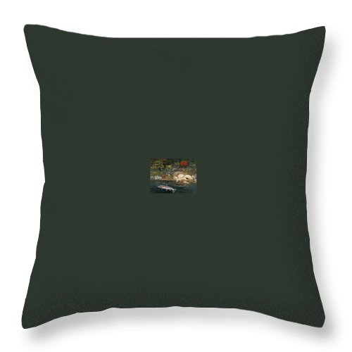 Art Throw Pillow featuring the painting Fish Art Jumping Silver Steelhead Trout Art Nature Artwork Giclee Wildlife Underwater Wall Art Work by Baslee Troutman