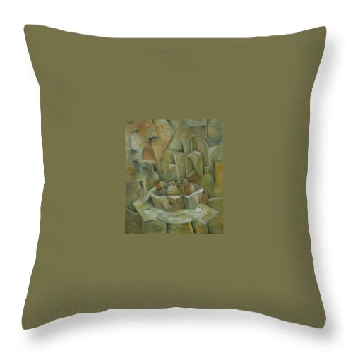 Cubism Throw Pillow featuring the painting Fish Basket With Bottles by Trish Toro