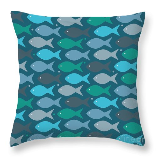 Dolphins Throw Pillow featuring the digital art Fish Blue by Mark Ashkenazi