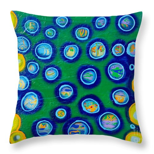 Abstract Art Throw Pillow featuring the painting Fish Bubbles by Laura Kiro