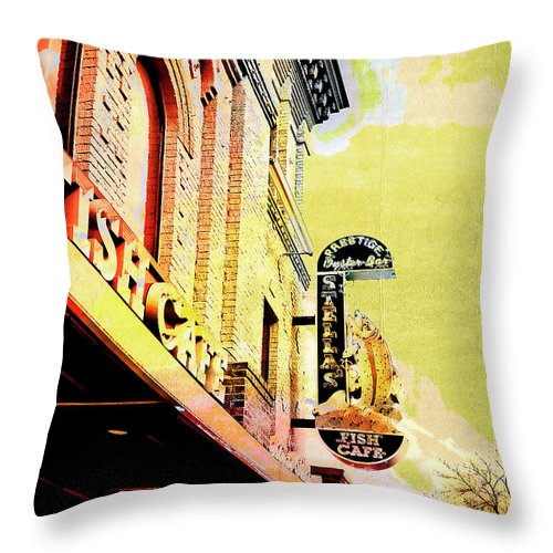 Uptown Throw Pillow featuring the digital art Fish Cafe by Susan Stone