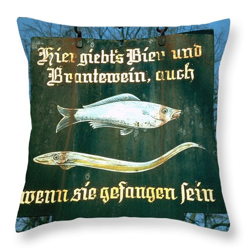Store Sign Throw Pillow featuring the photograph Fish by Flavia Westerwelle