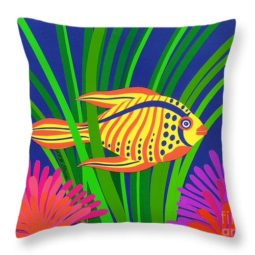 Nature Throw Pillow featuring the drawing Fish by Lucyna A M Green