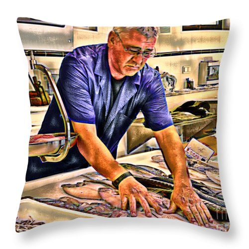 Ebsq Throw Pillow featuring the photograph Fish Monger by Dee Flouton
