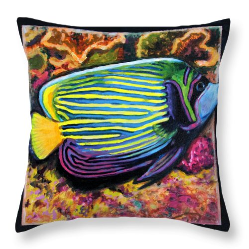 Ocean Fish Throw Pillow featuring the painting Fish Number 2 by John Lautermilch