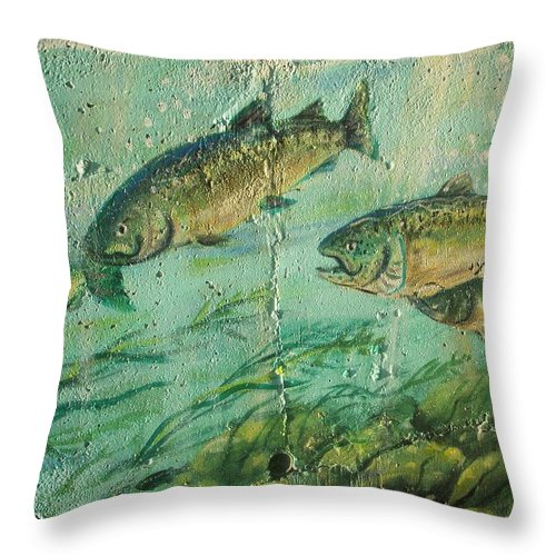 Fish Throw Pillow featuring the photograph Fish On The Wall 2 by Vesna Antic