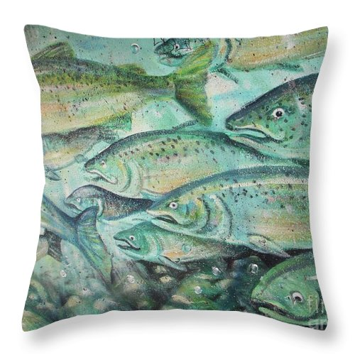Fish Throw Pillow featuring the photograph Fish On The Wall by Vesna Antic