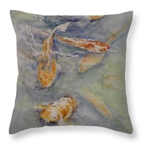 Fish Throw Pillow featuring the painting Fish Pond by Lizzy Forrester