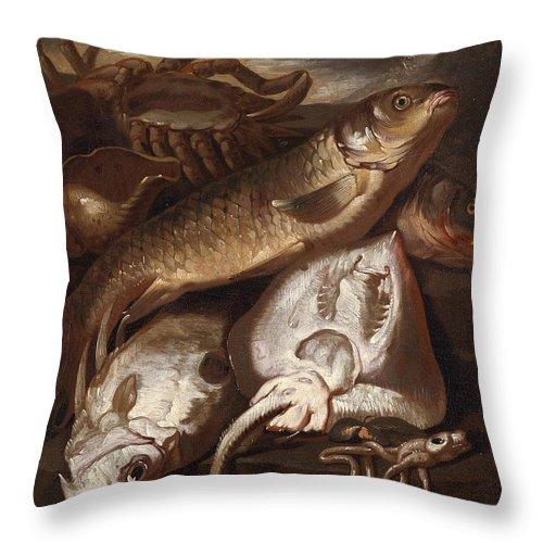 Giacomo Francesco Cipper Throw Pillow featuring the painting Fish Still Life by Giacomo Francesco Cipper