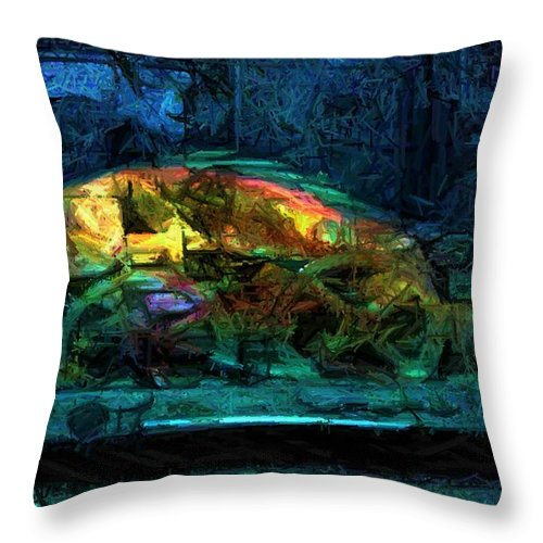 Fish Throw Pillow featuring the digital art Fish Wheels by Ron Bissett
