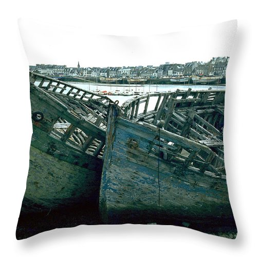Fisher Boats Throw Pillow featuring the photograph Fisher Boats by Flavia Westerwelle