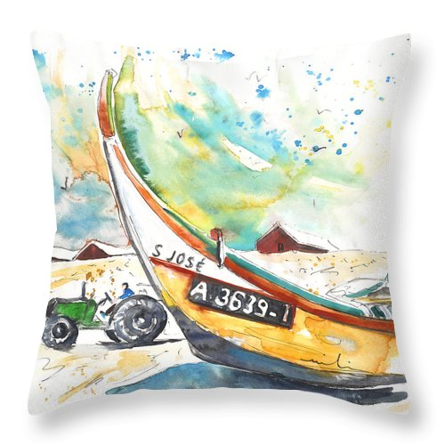 Portugal Throw Pillow featuring the painting Fisherboat In Praia De Mira by Miki De Goodaboom