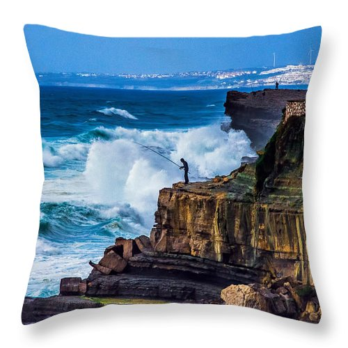 Seascape Throw Pillow featuring the photograph Fisherman And The Sea by Marion McCristall