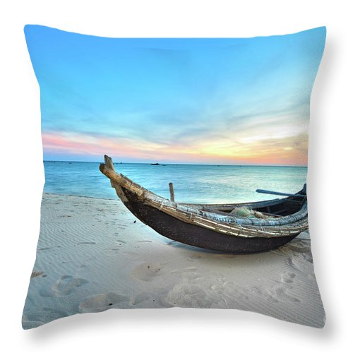 Sunrise Throw Pillow featuring the photograph Fisherman Boat by MotHaiBaPhoto Prints