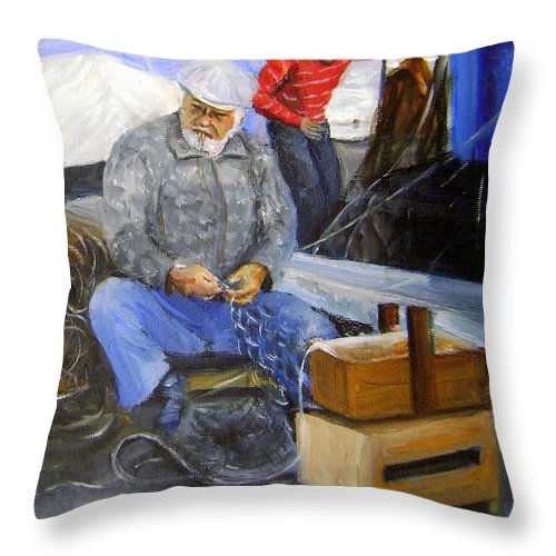 Italy Throw Pillow featuring the painting fisherman from Mola di Bari by Leonardo Ruggieri
