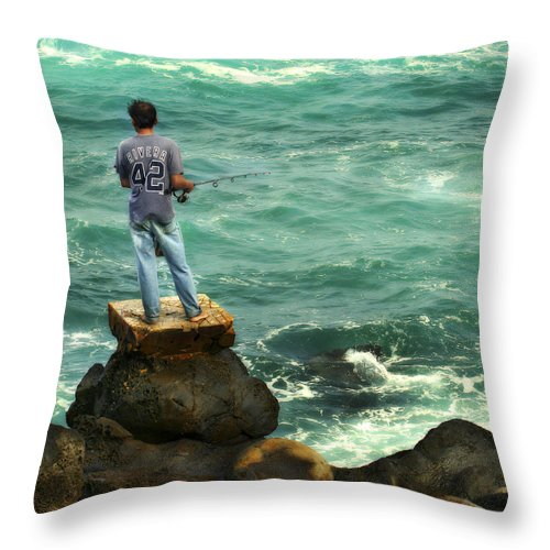 Americana Throw Pillow featuring the photograph Fisherman by Marilyn Hunt