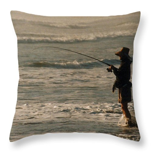 Fisherman Throw Pillow featuring the photograph Fisherman by Steve Karol