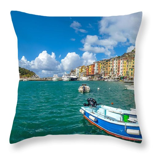 Architecture Throw Pillow featuring the photograph Fisherman Town Of Portovenere, Liguria, Italy by JR Photography