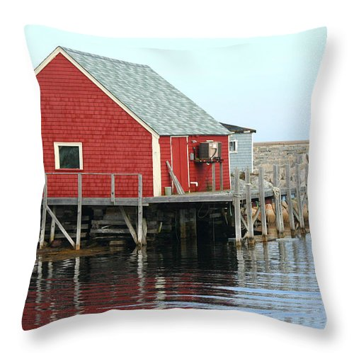 Peggy's Cove Throw Pillow featuring the photograph Fishermans House On Peggys Cove by Thomas Marchessault