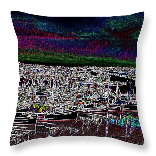 Seattle Throw Pillow featuring the photograph Fishermans Terminal 4 by Tim Allen
