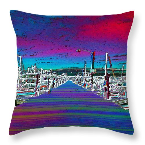 Seattle Throw Pillow featuring the photograph Fishermans Terminal Pier by Tim Allen