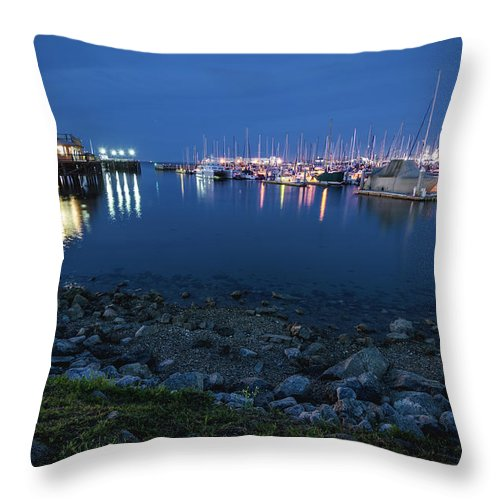 Landscape Throw Pillow featuring the photograph Fisherman's Wharf by Margaret Pitcher