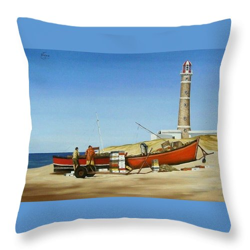 Lighthouse Fishermen Sea Seascape Throw Pillow featuring the painting Fishermen By Lighthouse by Natalia Tejera