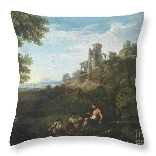 Andrea Locatelli Throw Pillow featuring the painting Fishermen by Celestial Images