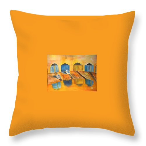 Boats Throw Pillow featuring the painting Fishermens Boats At Sundown by Lizzy Forrester