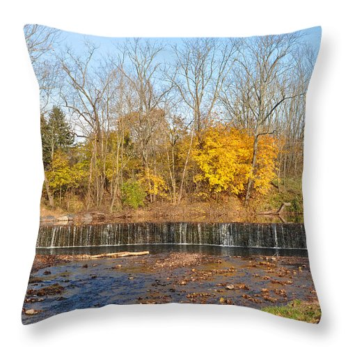 Fishers Throw Pillow featuring the photograph Fishers Pool Waterfall - Montgomery County Pa by Bill Cannon