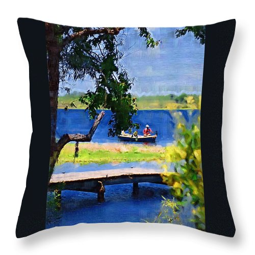 Ponds Throw Pillow featuring the photograph Fishin by Donna Bentley