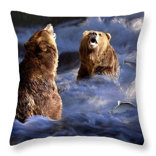 Bear Throw Pillow featuring the digital art Fishing Alaska by Bill Stephens