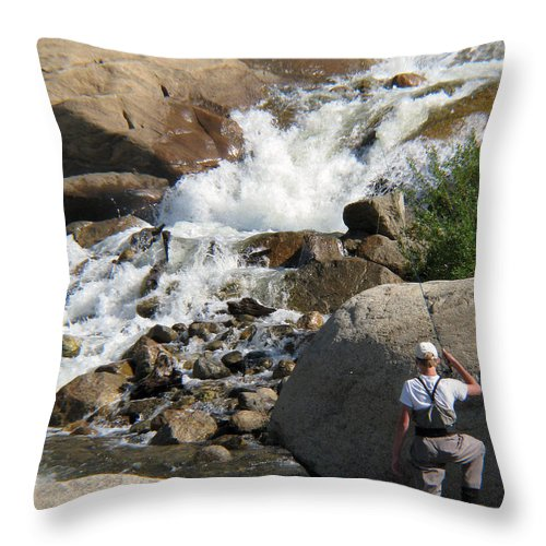 Fishing Throw Pillow featuring the photograph Fishing Anyone by Amanda Barcon