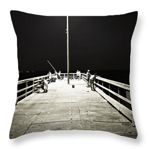 Americana Throw Pillow featuring the photograph Fishing At Night by Marilyn Hunt