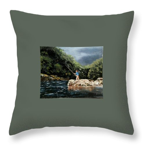 Fishing Throw Pillow featuring the painting Fishing At The Crack Of Dawn by Ramesh Mahalingam