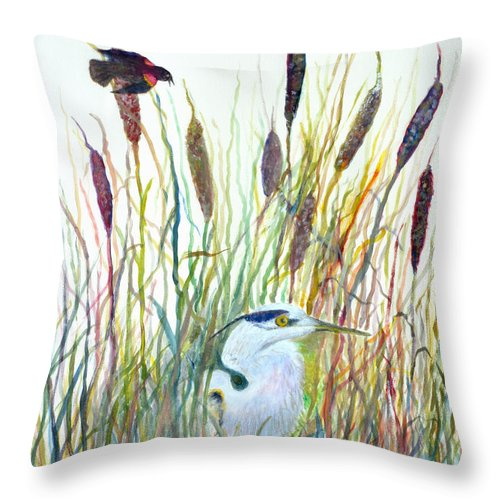 Fishing Throw Pillow featuring the painting Fishing Blue Heron by Ben Kiger