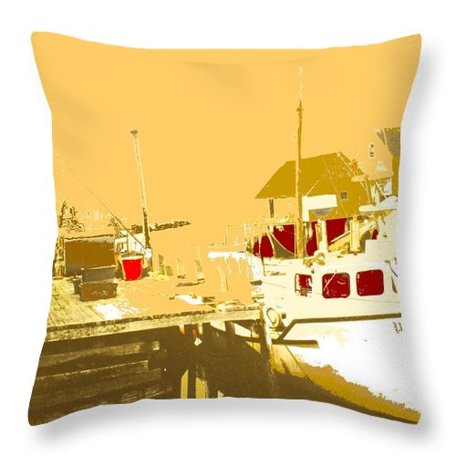 Red Throw Pillow featuring the photograph Fishing Boat At The Dock by Ian MacDonald