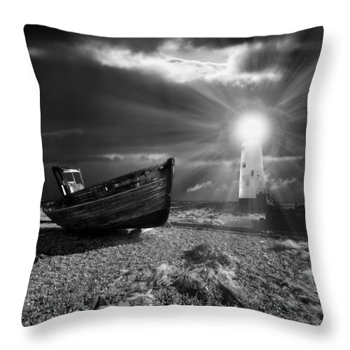 Boat Throw Pillow featuring the photograph Fishing Boat Graveyard 7 by Meirion Matthias